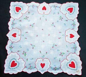 Vintage Valentine Red Hearts Pair Handkerchief Printed Linen Unused Tag