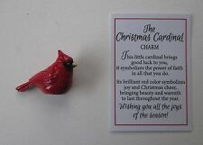 F The Christmas Cardinal bird miniature figurine symbol of joy cheer faith luck