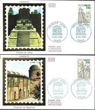 S91/92+ FDC 2  ENVELOPPES  1er  JOUR  CEF      UNESCO