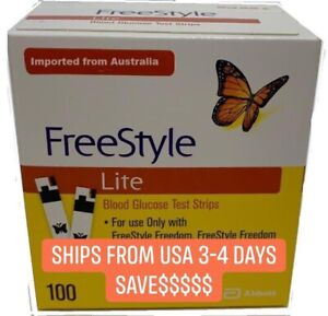100 FreeStyle  Lite Test Strips Exp 7/2022+ Only 47 fast shipping