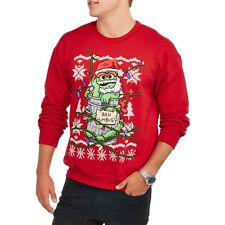 OSCAR THE GROUCH BAH HUMBUG SESAME STREET SWEATSHIRT MEN'S M CHRISTMAS SWEATER!