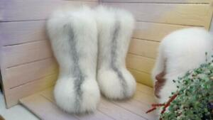 Handmade White Fox Fur Boots for Women, Winter Snow Boots, Mukluks, LITVIN