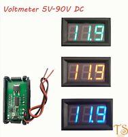 Voltmeter Car Motorcycle Voltage Gauge Panel Meter 5V-90VLED Digital Display