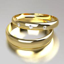 Band Very Good Cut Round Yellow Gold Fine Diamond Rings