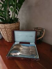Coffret 11 cuillères anciennes en métal argenté poinçonné couverts anciens