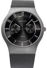 Bering Mens 11939-77 Classic Black Dial Grey Titanium Mesh Band Ti Watch