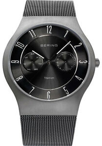 Bering Mens 11939-77 Classic Black Dial Grey Titanium Mesh Band Ti Watch