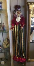 "Katherine's Collection Wayne Kleski Retired Hanging 42"" Clown Jester Doll"