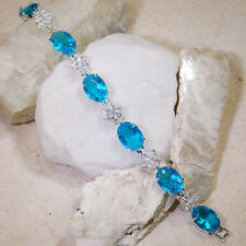 "Wholesales 5 strands x 35CT London Blue & White Topaz Sliver Bracelet 7"" GBR171"
