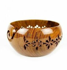Wood Yarn Bowl Handmade Beautiful Wooden Craft vintage Style Knitting Bowls Gift