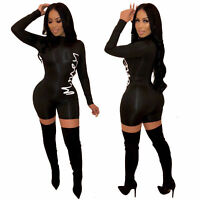 Womens Casual Jumpsuit Bodycon Rompers Casual Dresses Playsuit Long Sleeve Slim