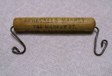 Antique Advertising Shopping Bag WOOD Handle SPRECKELS MARKET San Francisco CA