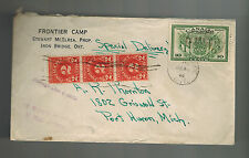 1946 Iron Bridge Canada Frontier Camp special Delivery Postage Due  cover to USA
