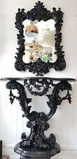 Antique Italian Design Elegant Black ConsolenTable And Mirror Set Shabby Chic