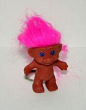 Vtg Plastic Toy Troll Pink Hair Key Chain 1970s New NOS For Display Korea