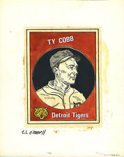 T.S. O'Connell Original Artwork - Unissued Baseball Greats - Ty Cobb