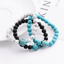 Men Charm Natural Stone Turquoise Turtle Stone Beaded Lucky Elastic Bracelets