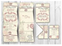 Personalised HANDMADE Romatic Wedding Day Invites / Evening Invitation +Envelope