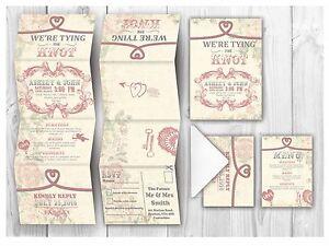 Personalised HANDMADE Romatic Wedding Day Invites / Evening Invitation +Envelope