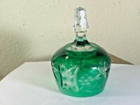 Emerald Green Cut to Clear German Crystal Bell by Imperlux  Vintage