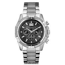 NEW GUESS WATCH for Men * Sporty Chronograph Silver Tone Stainless Steel U0177G1