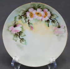 Set of 4 Thomas Bavaria Hand Painted Pink Wild Roses Bread Plates C. 1908 - 39