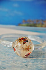 BUTTERFLY DANDELION, UNIQUE STYLE CLEAR BANGLE BRACELET, HANDCRAFTED NEW SIZE M