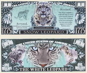 RARE: Snow Leopard $1,000,000 Novelty Note, Wild Animals Buy 5 Get one FREE