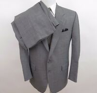 Hickey Freeman Pure Wool Solid Gray Two Piece Mens Suit 42 R 36x26 Made in USA