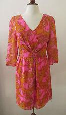 Womens BROADWAY & BROOME Pink & Orange Paisley Silk Dress ~ Size 4 (B1)