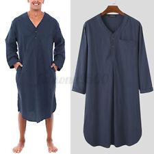 Men's Soft Nightshirt Pyjamas Long Sleeve Night Gown Kaftan Loose Loungewear Top