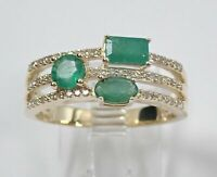 14k Yellow Gold Over 2.50Ct Emerald & Diamond Anniversary Multi Row Band Ring