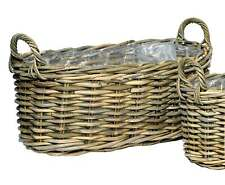Dekorativer Pflanzkorb mit Henkel Rattankorb D 60 cm Pflanzschale Blumenkorb