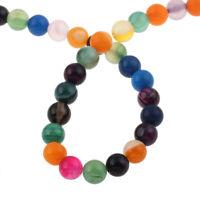 60 Achat Perlen Poliert 1strang Bunte 6mm Edelsteine Natur Streifen BEST G831