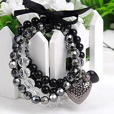 Style Fashion Women Multilayer Black Bead Crystal Ribbon Bracelet Bangle Jewelry