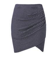 Seed Heritage Stripe Twist Skirt Size S Navy White Rib Cotton Wrap Mini Gathered