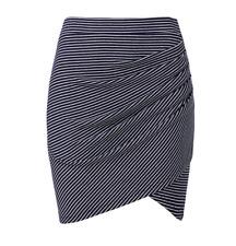 Seed Heritage Stripe Twist Wrap Mini Skirt Size S Navy White Rib Cotton Gathered
