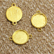 20pcs gold round Glass Cabochon settings charm connectors fit 12mm glass dome