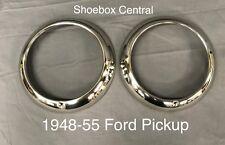 New 1948-55 Ford Pickup Headlight Trim Ring Bezels