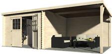 Casa + Tettoia Block House 610x300 Legno 28mm Giardino Parcheggio Auto Moto Bici
