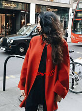 ZARA OVERSIZE RED HANDMADE WOOL COAT WITH ROUND NECK AND WIDE SLEEVES, SIZE M.