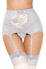 Erotic High Waist Lace Hollow Out White Garter Belt Small
