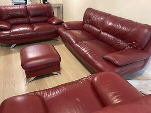 leather 3 piece suite used