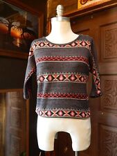 FOREVER 21 Womens Geometric Tribal Round Neck Shirt 3/4 Sleeves Blouse Top SP
