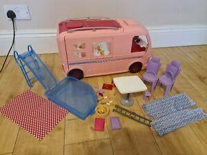 Barbie Dream Camper Van Pink Pop Out Caravan, with Accessories