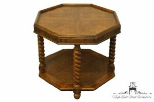"""HEKMAN FURNTIURE Walnut Banded Bookmatched 24"""" Octagonal End Table w. Rope Tw..."""