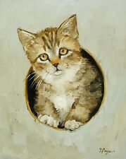 oil painting original of a cat kitten portrait by j payne realism