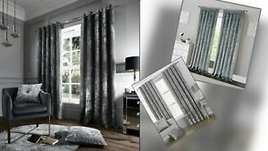 READYMADE CRUSHED VELVET EYELET RING TOP   PENCIL PLEAT FULLY LINED CURTAIN PAIR