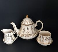 Vtg Sadler Marquee Gold White Teapot Carousel Shape Cream & Sugar Set