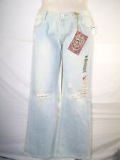 Chip and Pepper Blue Beige Flare Denim Jeans Juniors Size 13 Large Laguna Beach